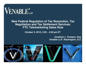 New Federal Regulation of Tax Resolution, Tax ... - Venable LLP