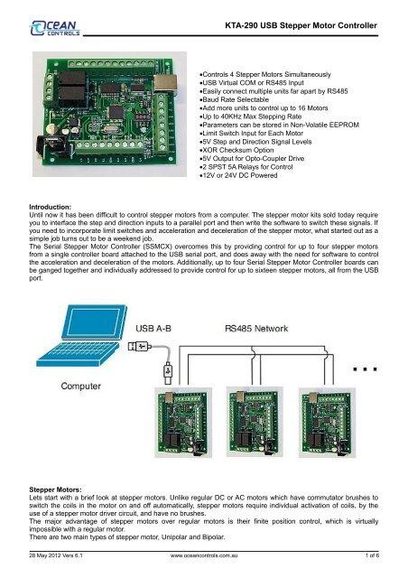 KTA-290 USB Stepper Motor Controller - Ocean Controls