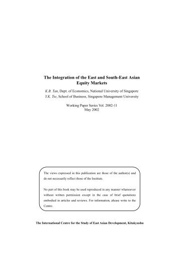 The Integration of the East and South-East Asian Equity Markets