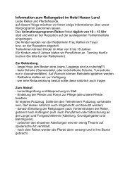 Information zum Reitangebot im Hotel Harzer Land