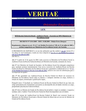 Decreto 5.511 05 - RFB - Auditores Fiscais - Exercício no ... - Veritae