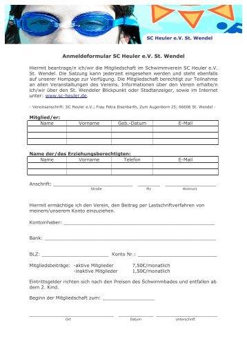 Anmeldeformular SC Heuler e.V. St. Wendel Anschrift: ______