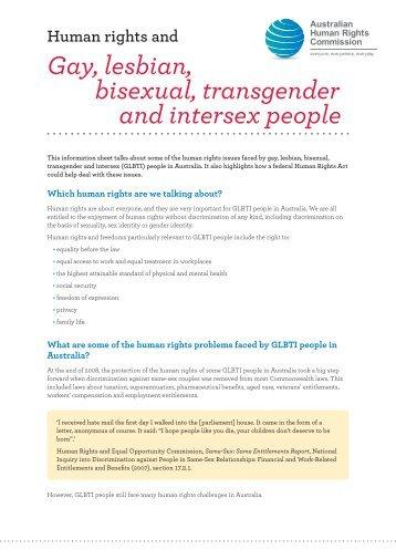 Gay, lesbian, bisexual, transgender and intersex people - Australian ...