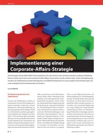 Implementierung einer Corporate-Affairs-Strategie
