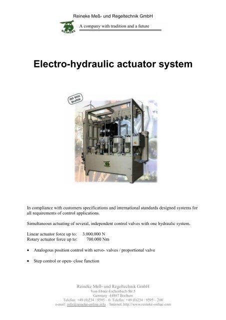 Electro-hydraulic actuator system - Reineke