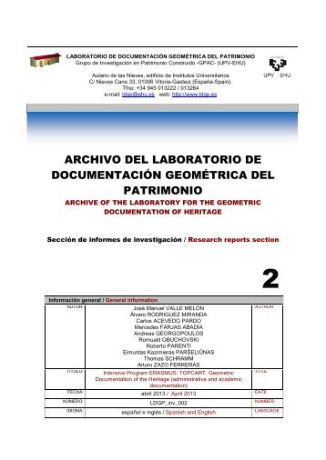 Intensive Program ERASMUS: TOPCART 2010 / 2011 Geometric ...