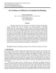 New Evidence on Efficiency in Scandinavian Banking - EuroJournals