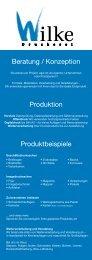 Beratung / Konzeption Produktion Produktbeispiele