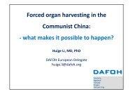 Forced organ harvesting in the Communist China ... - David Kilgour