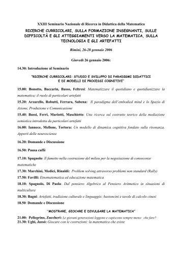 Programma - Seminario Nazionale di Ricerca in Didattica della ...