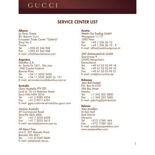 Service Center List Guccitimeless Com