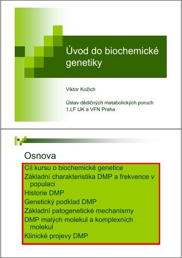 Úvod do biochemické Úvod do biochemické genetiky
