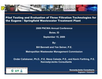 Pilot Testing and Evaluation of Three Filtration Technologies - pncwa