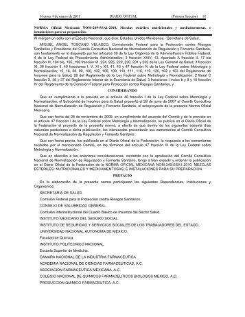 (Primera Sección) 18 NORMA Oficial Mexicana NOM-249-SSA1 ...
