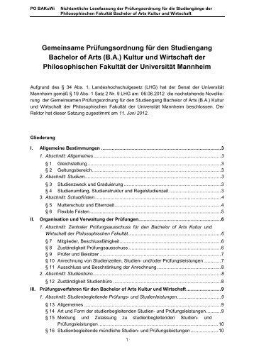 Entwurf: - Bachelor Kultur und Wirtschaft - Universität Mannheim