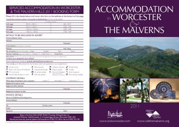 ACCOMMODATION in WORCESTER THE MALVERNS
