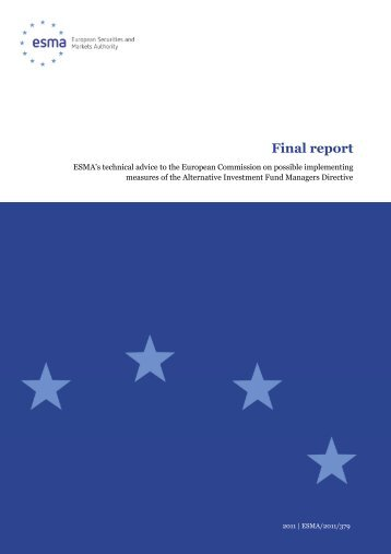 ESMA's Technical Advice to the European Commission on possible ...