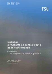 Ville compacte : LA tour de la question - FSU • Fédération suisse ...