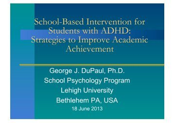 School-Based Intervention for Students with ADHD: Strategies to ...