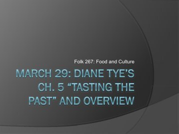 Tasting the Past - Faculty Web Pages
