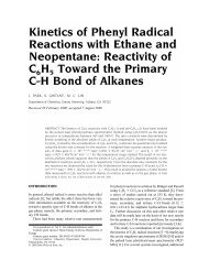 Kinetics of Phenyl Radical Reactions with Ethane and ... - Chemistry
