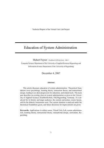 Education of System Administration - Dr. Hubert Feyrer