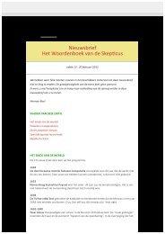 Nieuwsbrief Het Woordenboek van de Skepticus - februari 2012