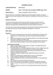 DOWNEND SCHOOL JOB DESCRIPTION: HLTA Cover GRADE ...