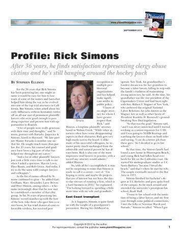 Profile: Rick Simons - Plaintiff