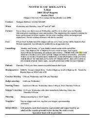NOTICE OF REGATTA X Boat 2008 TRAP Regatta Junior Fleet