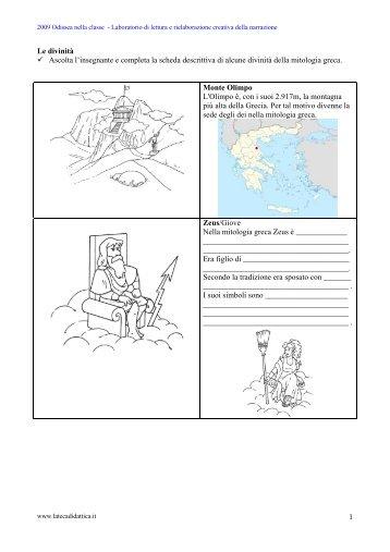 Salva scheda dèi dell'Olimpo - La Teca Didattica