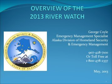 OVERVIEW OF THE 2013 RIVER WATCH - ANTHC