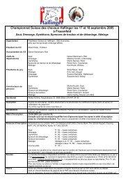 Championnat Suisse des chevaux Haflinger les 17 et 18 septembre ...