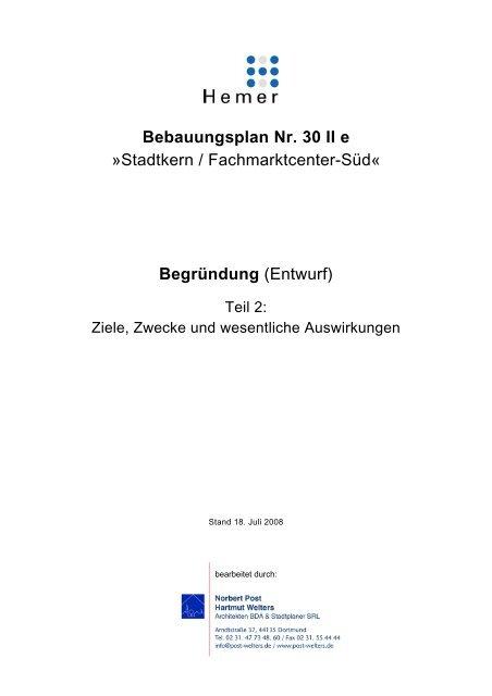 Bebauungsplan Nr. 30 II e »Stadtkern / Fachmarktcenter-Süd - Hemer