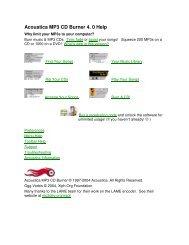 Acoustica MP3 CD Burner 4. 0 Help