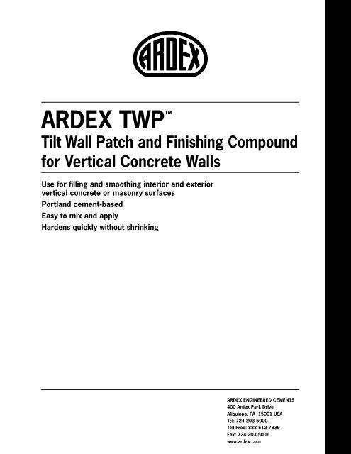 ARDEX TWP™ Tilt Wall Patch