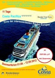 Costa Pacifica - Reisebüro Niedermayer Reisen