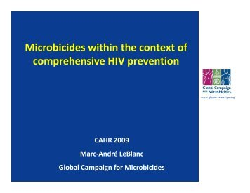 Microbicides within the context of comprehensive HIV prevention