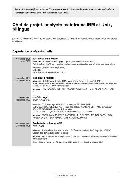 Chef De Projet Analyste Mainframe Ibm Et Unix Easy Cv Com