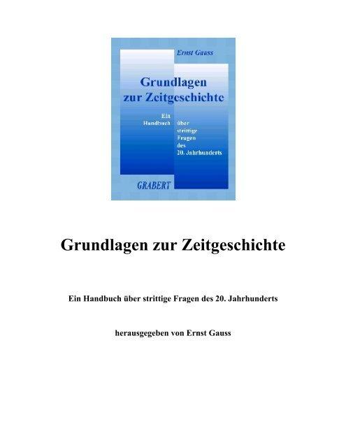 Gauss, Ernst - Grundlagen zur Zeitgeschichte