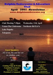 Club Meeting 6:30pm April 2007 Newsletter - DolphinUnderwater.org