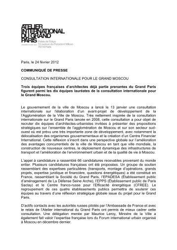 le communiqué de presse -  Atelier International du Grand Paris