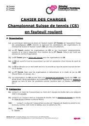CAHIER DES CHARGES Championnat Suisse de tennis (CS) en ...