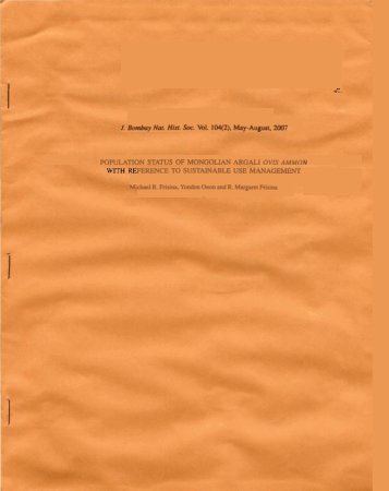 population status of mongolian argali ovis ammon ference
