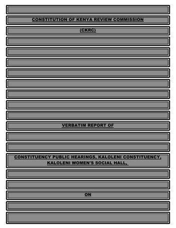 verbatim report of constituency public hearings ... - ConstitutionNet