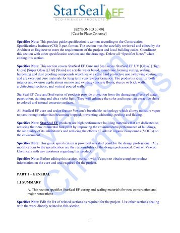 Specifier Note - Vexcon Chemicals