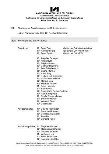 Jahresbericht 2007 (pdf) - Landeskrankenhaus Feldkirch