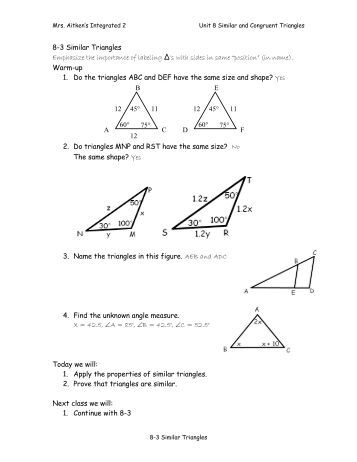 geometry notes 7 3 triangle similarity warm up write a statement. Black Bedroom Furniture Sets. Home Design Ideas