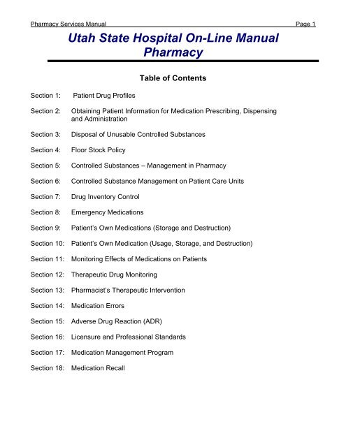 Chapter: Pharmacy Services Section 1 - Utah State Hospital