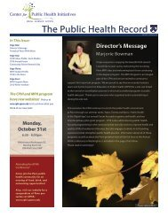 Issue 3 - Center for Public Health Initiatives - University of ...
